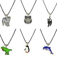 1 Kette Wolf Katze Dino Tier Emaille Anhänger Modeschmuck