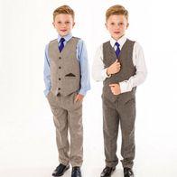 Jungen Tweed Anzug 4-teilig Jungen Hochzeit Page Boy Party Outfit 0//3 Monate bis 12 Jahre