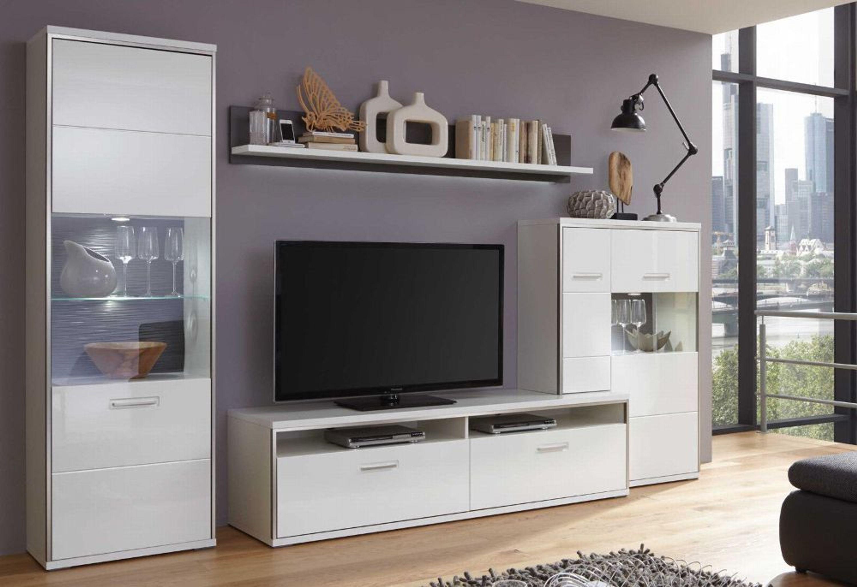 Mca Furniture Trento Moderne Wohnwand Weiß Hochglanz Anbauwand
