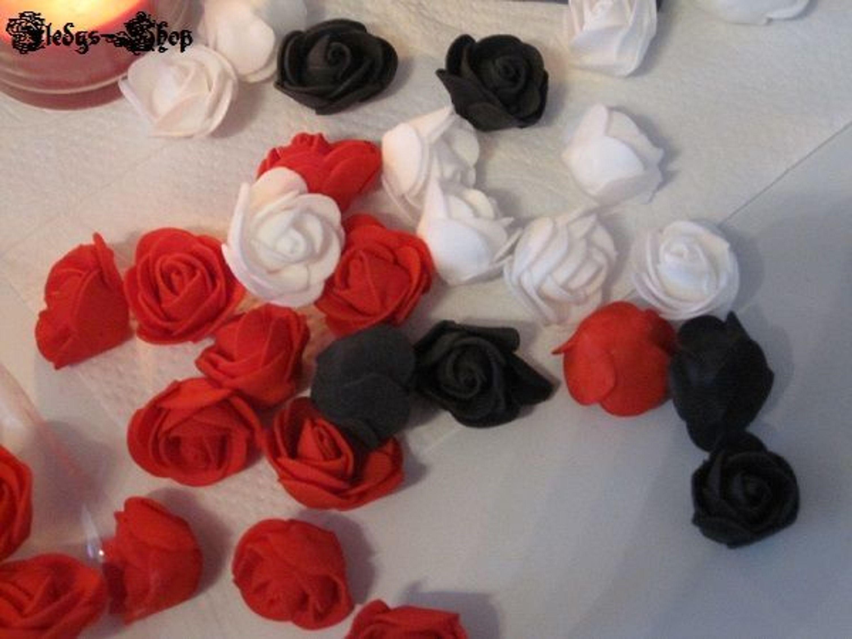 10 stk rosen k pfe k nstliche deko schaumstoff blumen schwarz rot oder wei kaufen bei. Black Bedroom Furniture Sets. Home Design Ideas