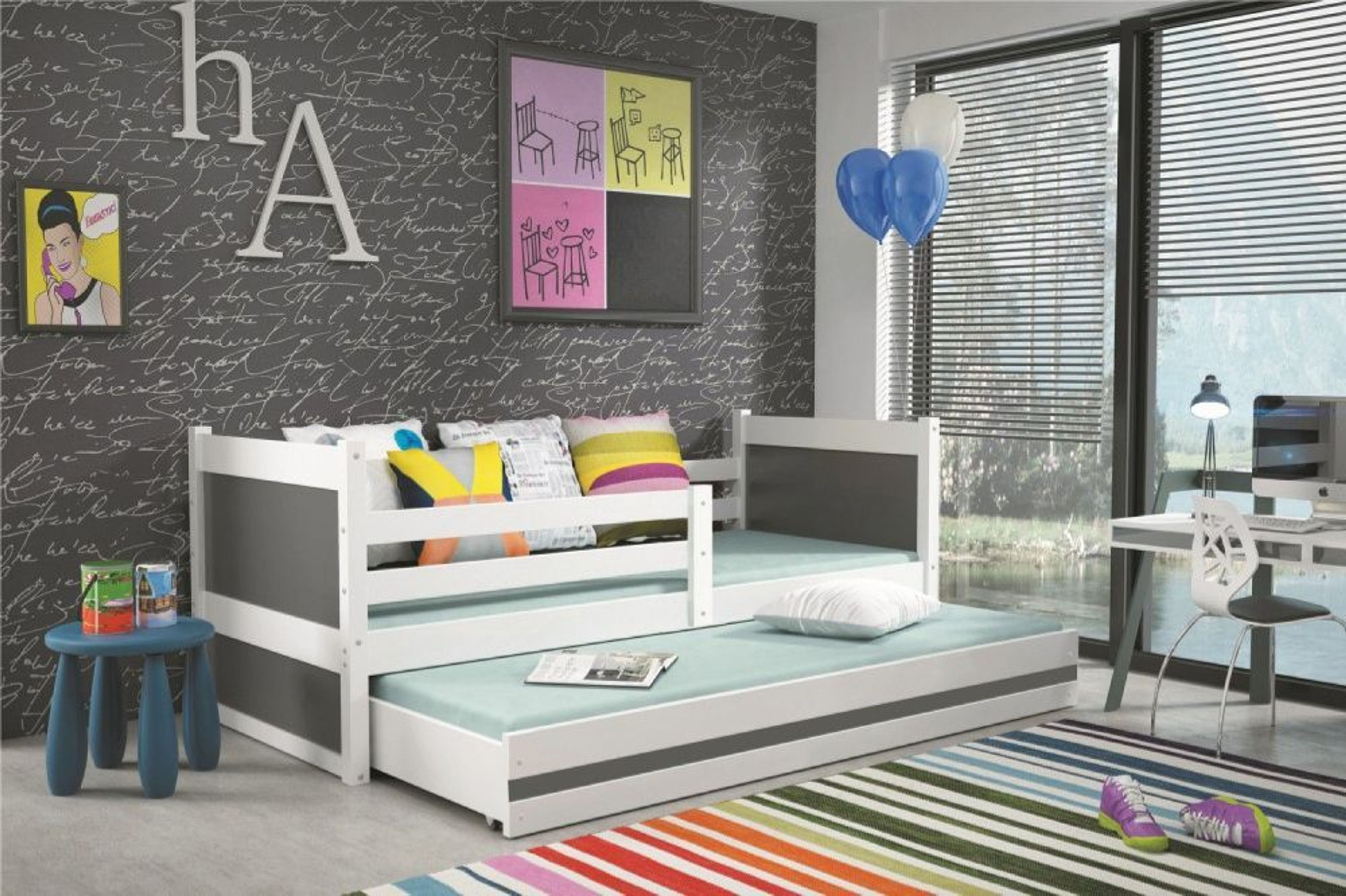 kinderbett joko in wei mit g stebett in verschiedenen. Black Bedroom Furniture Sets. Home Design Ideas