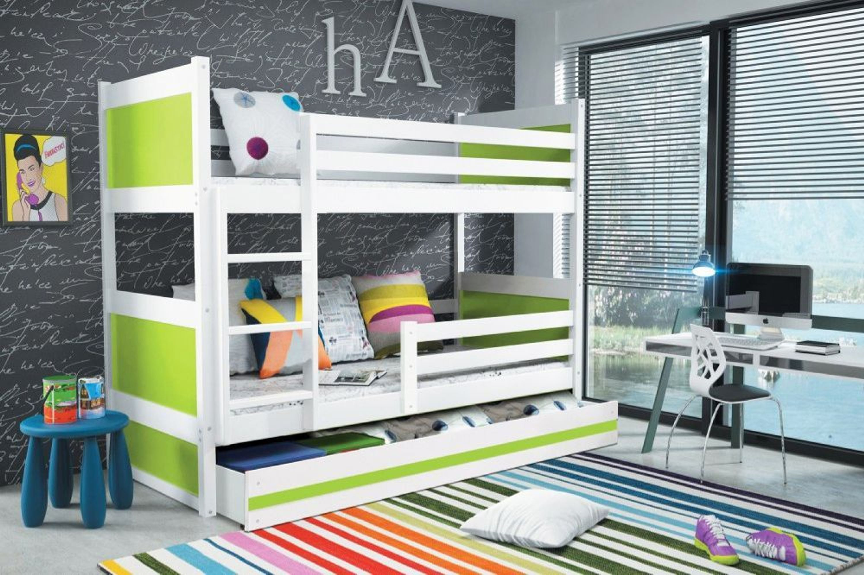 etagenbett joko wei mit bettkasten in gr n 200 x 90 cm kaufen bei. Black Bedroom Furniture Sets. Home Design Ideas