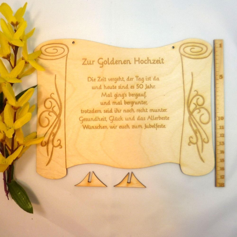 Goldene Hochzeit Geschenk Mit Passendem Spruch 50 Jahre Witzig Aber