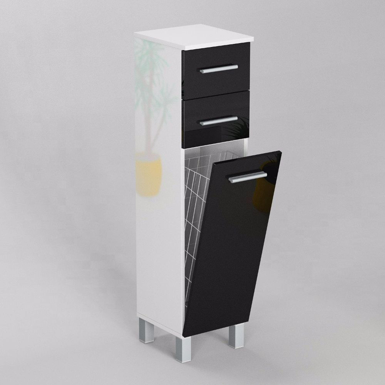 Gabi Sn5 Badezimmerschrank Mit Wäschekorb Und 2 Schubladen Weiß Hochglanz Oder Matt