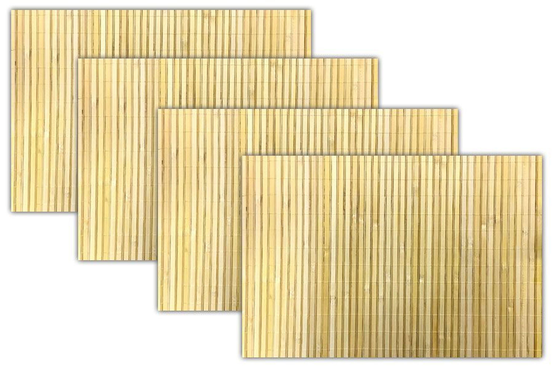 4x Bambus Platzset Natur Tischset Untersetzer Tischmatten