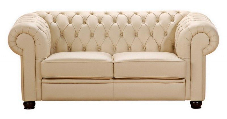 Sofa Couch 2 Sitzer braun beige in Leder oder Kunstleder Knopfheftung  klassisch