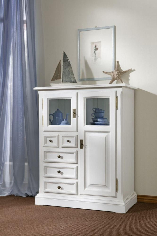 beistellschrank highboard anrichte schr nkchen fichte antik wei massiv shabby kaufen bei. Black Bedroom Furniture Sets. Home Design Ideas