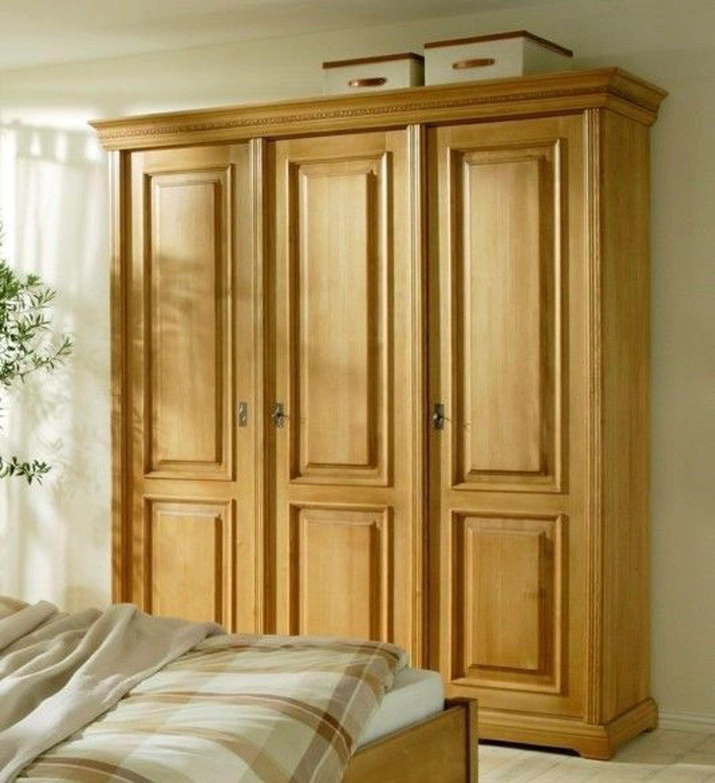 Schrank Kleiderschrank Schlafzimmer Fichte massiv antik gewachst 3-türig