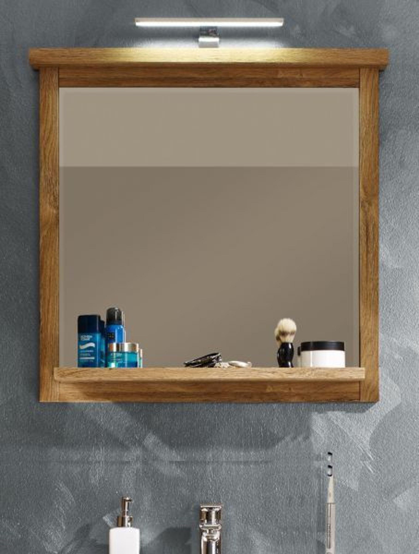 badezimmer spiegel canyon badspiegel 80 cm ablage rahmen eiche alteiche beleuchtung kaufen bei. Black Bedroom Furniture Sets. Home Design Ideas