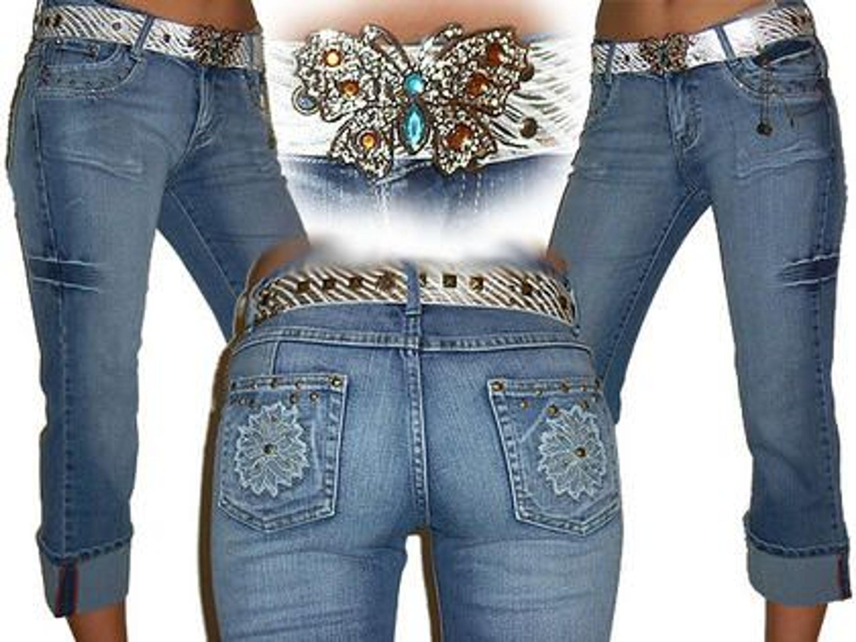 großer Abverkauf 100% authentifiziert Wählen Sie für neueste 7/8 Jeans Stickerei/ Butterflygürtel Größe S Bundweite 33 cm
