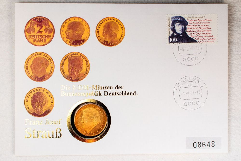 Numisbrief 2 Dm 1990 Brd Franz Josef Strauss Vergoldet Münze