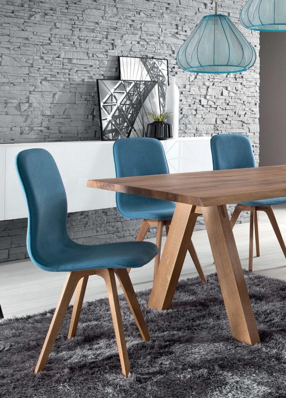 Stühle modern esszimmer  Schalenstuhl Stuhl Esszimmer modern blau Eiche massiv hellblau ...