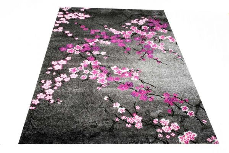 Designer Teppich Moderner Teppich Wohnzimmer Teppich Blumenmuster Grau Lila  Pink Weis