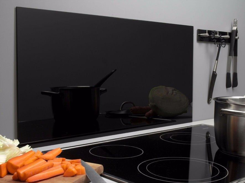 Spritzschutz Glas 40 x 80 cm schwarz Glasrückwand Küche Herd Wand ...