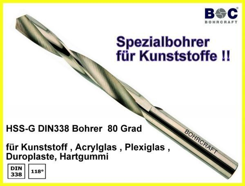 Turbo HSS DIN 338-G 80 Grad Spiralbohrer für Kunststoffe Acrylglas EO53