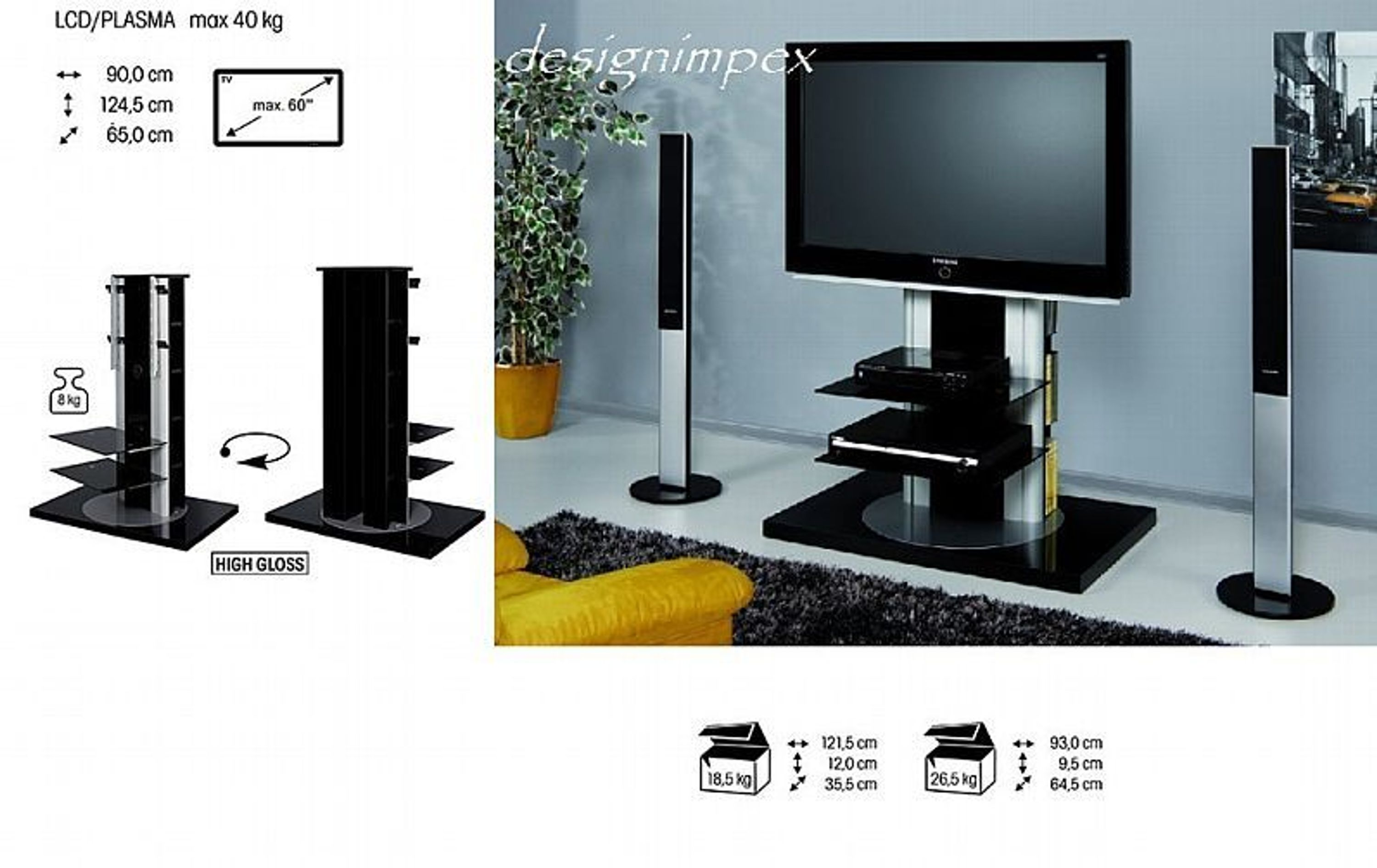 fernsehtisch h 777 schwarz hochglanz 360 drehbar tv rack lcd inkl tv halterung kaufen bei. Black Bedroom Furniture Sets. Home Design Ideas