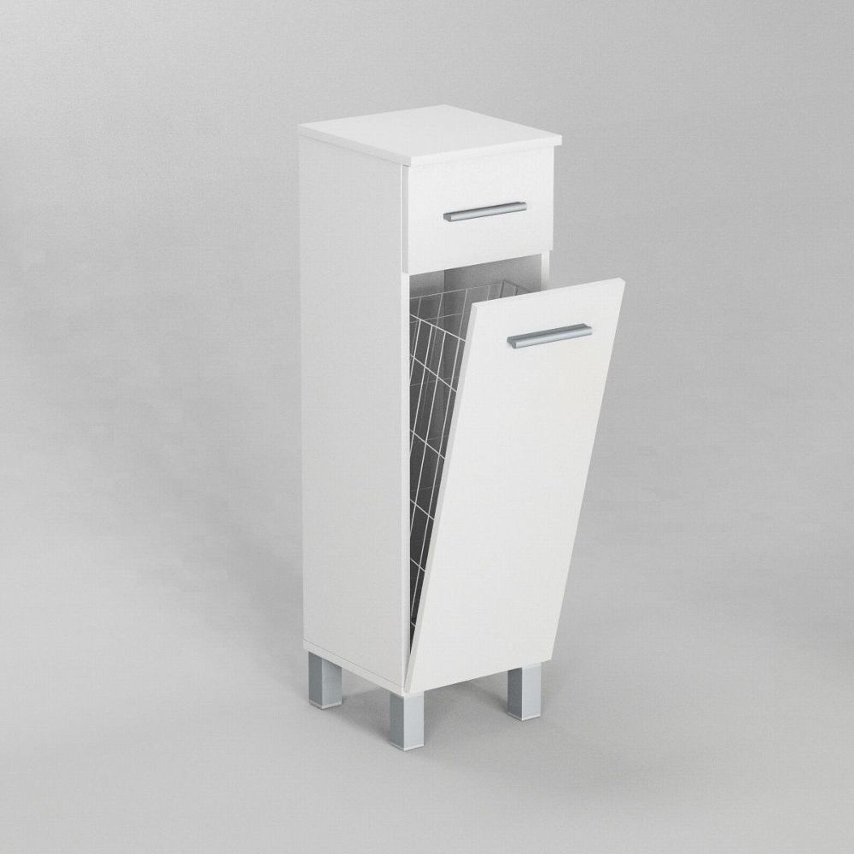 Badezimmerschrank Schrank Mit Waschekorb Sn7 30 Cm In Weiss Hochglanz