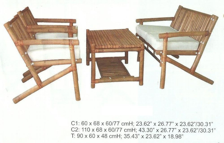 Bambus Garnitur Sitzgruppe Gartenmobel Terrassenmobel Balkonset