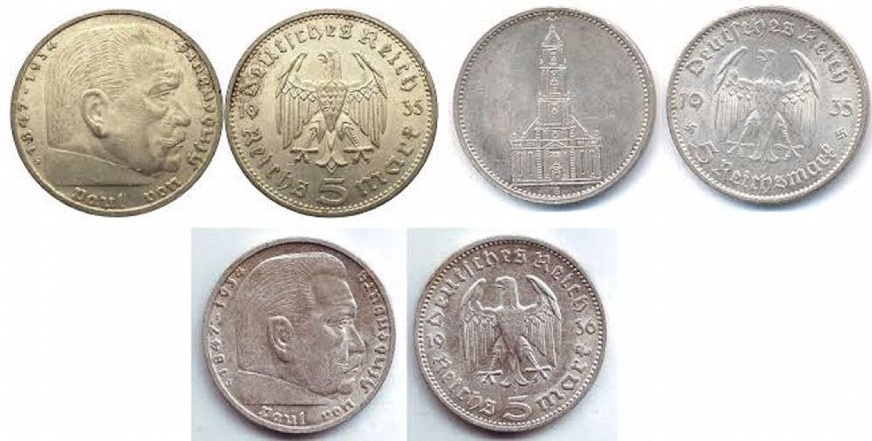 5 Reichsmark 1935 A D J Paul Von Hindenburg 1935 A Kirche 1936