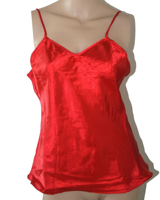 on sale 75d35 c13c7 Gina Benotti Damen Satin Negligee Unterhemd mit verstellbaren Trägern rot  Gr: 40/42