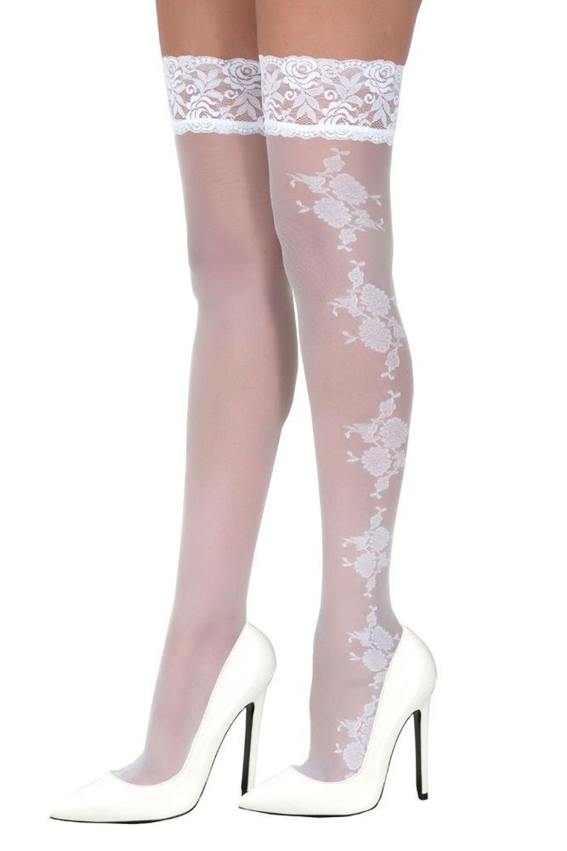 Werksverkauf online Shop mehr Fotos Halterlose Strümpfe Weiß Stockings Braut Spitze Sexy Spitzenstrümpfe Gr S/  M L/ XL