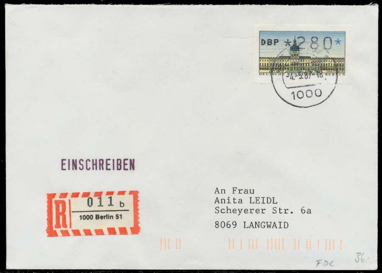Berlin Atm 1 280 Brief Einschreiben Fdc X7e461e Gebraucht Kaufen Bei