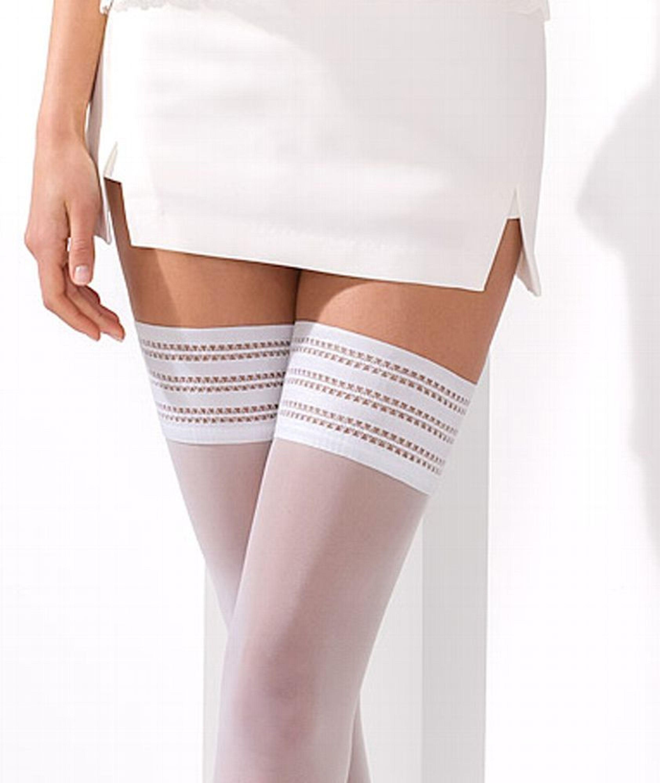 Qualitätsprodukte autorisierte Website weltweit verkauft Halterlose Strümpfe Weiß Hold Ups Stockings Overknees 17 DEN Gr S/ M L/ XL  XXL