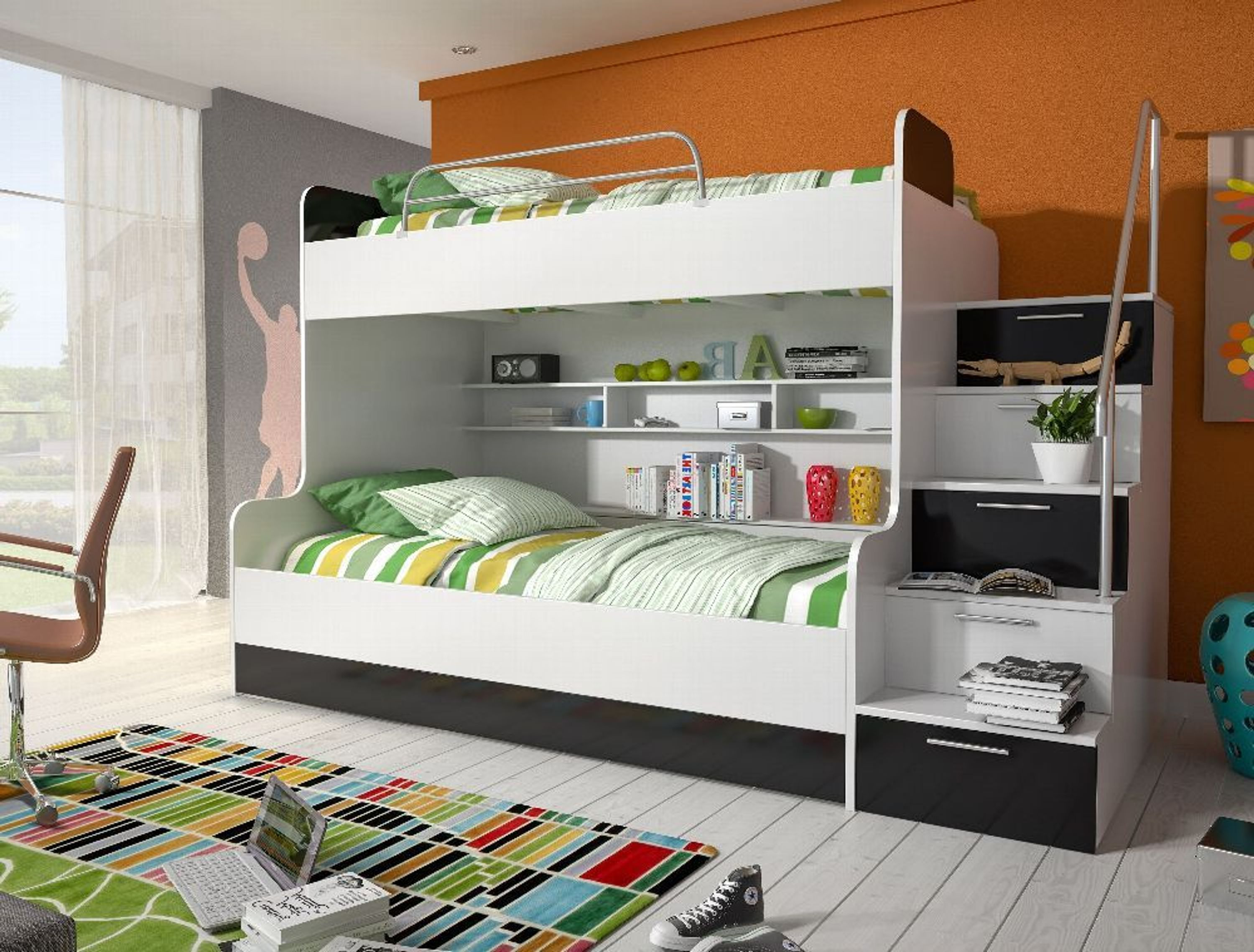 etagenbett kinderbett tito mit seitlicher treppe rechts. Black Bedroom Furniture Sets. Home Design Ideas