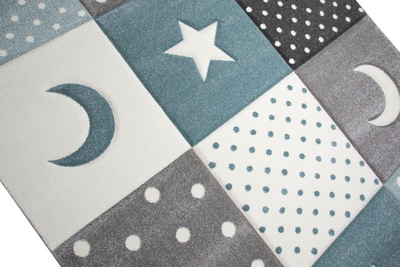 Kinderteppich Teppich Kinderzimmer Babyteppich Stern Mond in Weiss Grau Blau