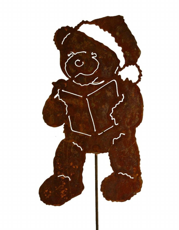 Gartenstecker Weihnachten.Teddy Mit Buch Wheinachtsmann Metall Rost Gartenstecker Weihnachten Winter