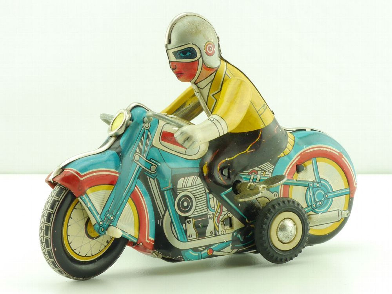 Blechspielzeug MS 709 Motorcycle Sidecar Blech Motorrad original Tin China 1603-12-38