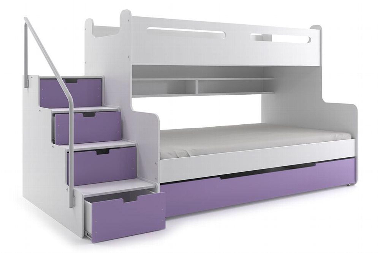 Etagenbett Mit Treppe Kaufen : Etagenbett luca ii mit seitlicher treppe 6 farben farbe: li lila