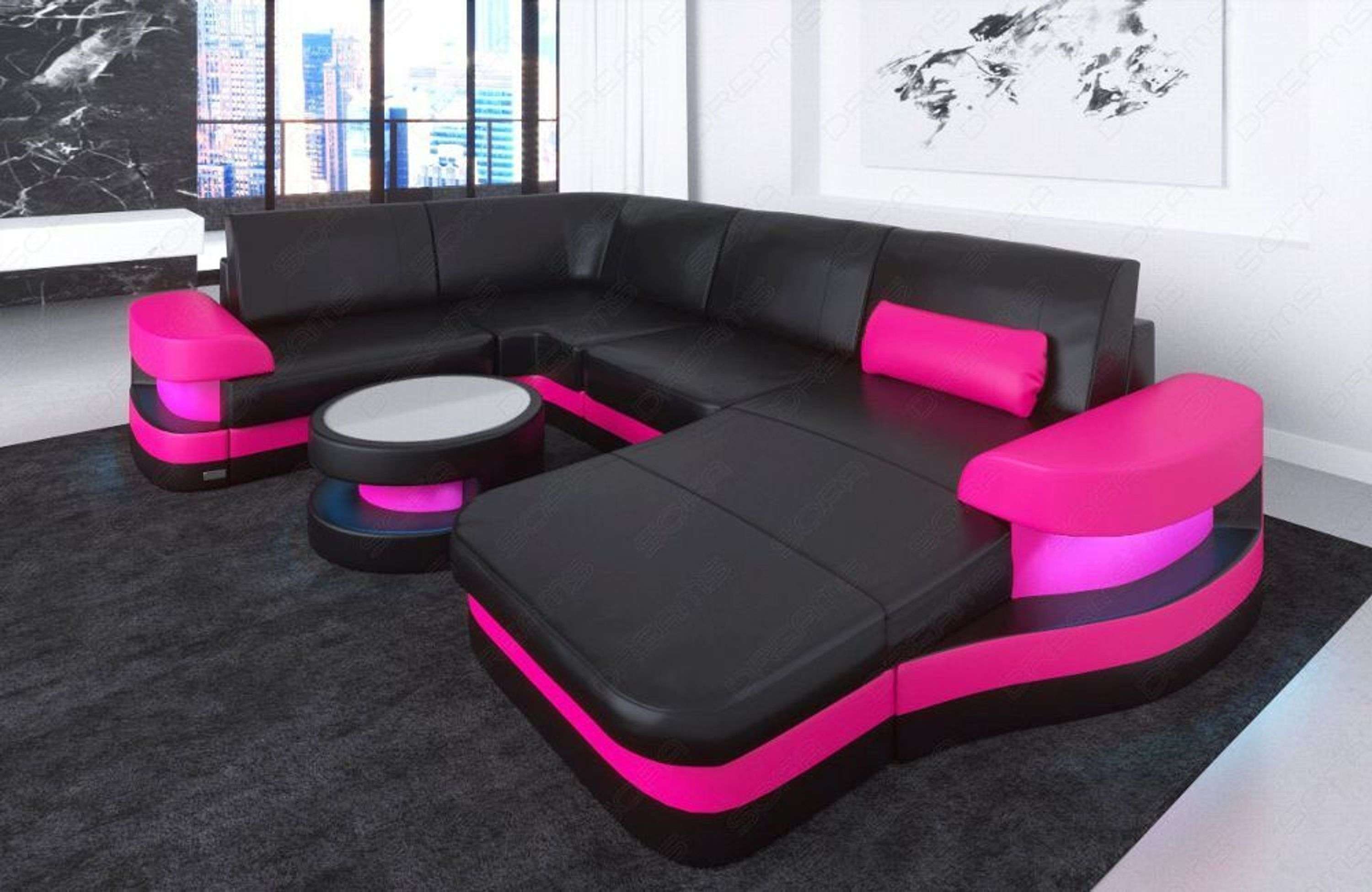 leder ecksofa ledersofa eckcouch sofa modena u form design couch led beleuchtung kaufen bei. Black Bedroom Furniture Sets. Home Design Ideas