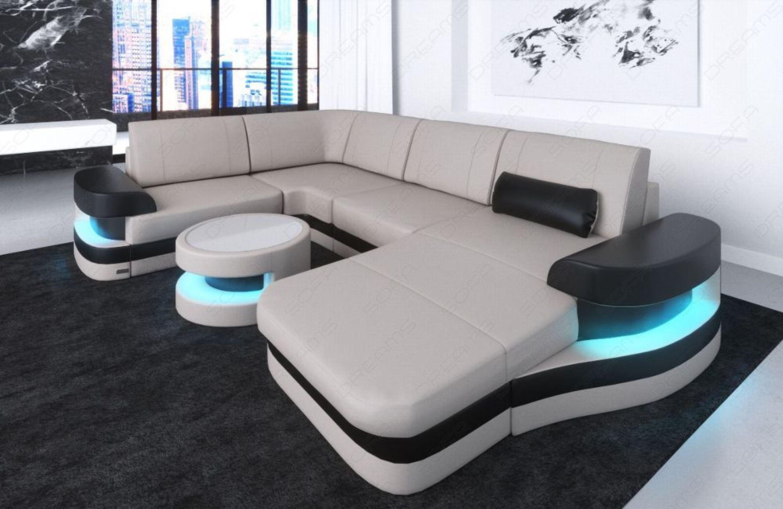 Leder Ecksofa Ledersofa Eckcouch Sofa Modena U Form Design Couch Led