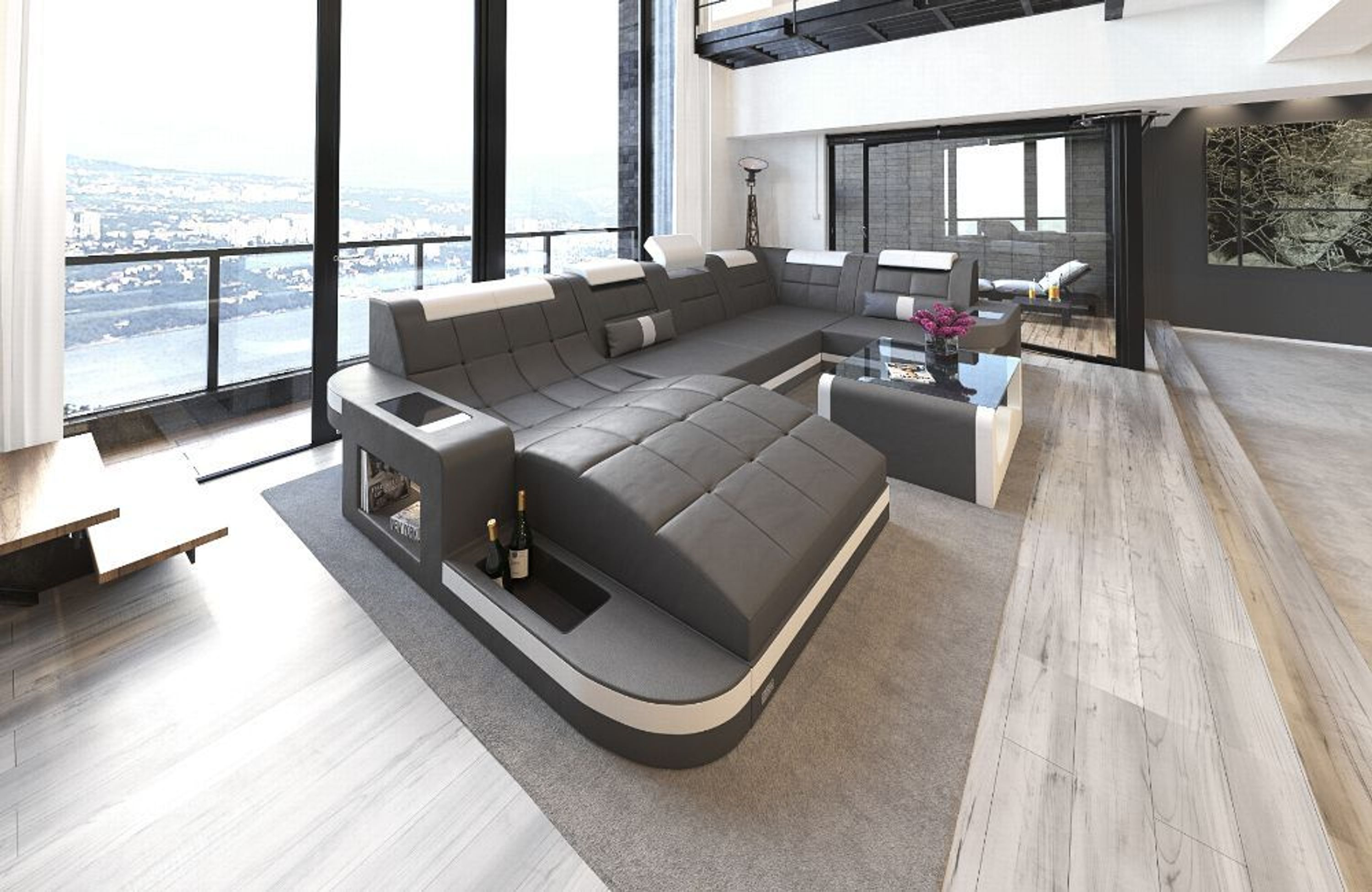 wohnlandschaft wave u form luxus couch garnitur mit led rgb beleuchtung ecksofa kaufen bei. Black Bedroom Furniture Sets. Home Design Ideas