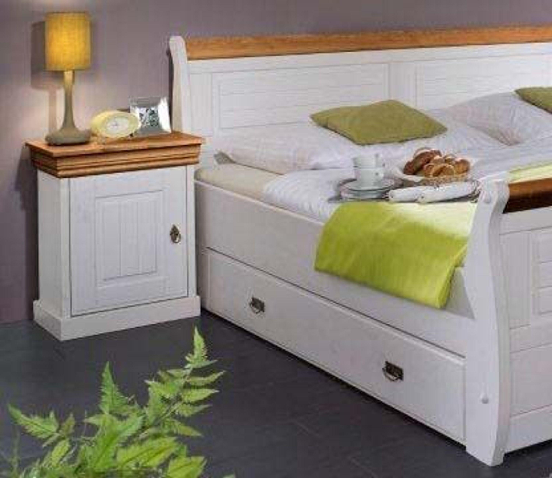 Schubladenbett skagen kiefer massiv wei honig 140x200 cm kaufen bei - Schubladenbett 140x200 ...
