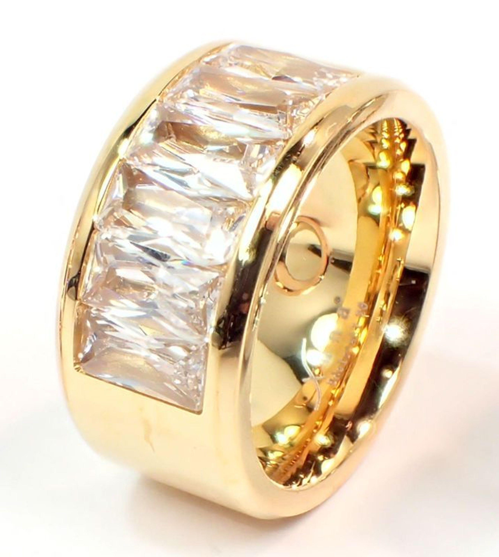 Edelstahlring Damen Ring 12mm rose gold silber Baguette Schliff glänzend modern