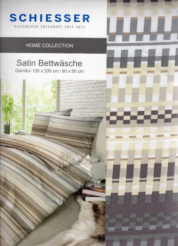 Schiesser Satin Bettwäsche Beige Braun Grau 135 X 200cm 100