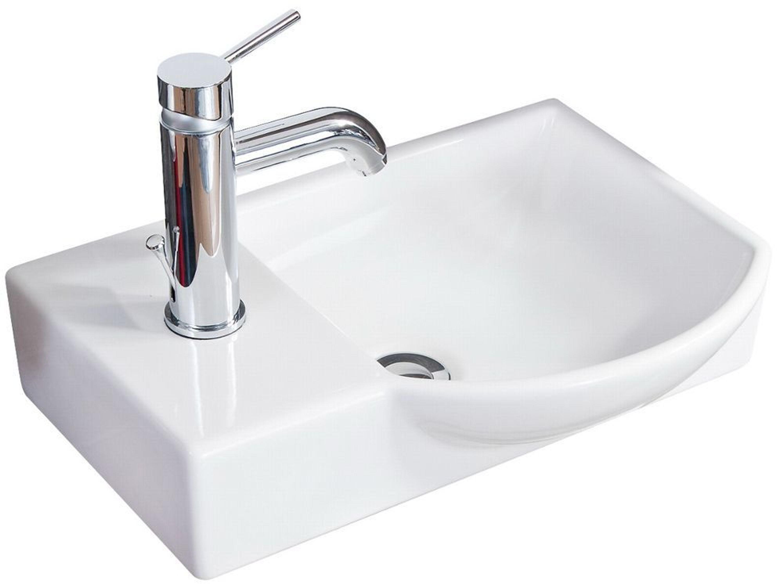 Fackelmann 82391 Waschbecken Gäste-WC Keramik 45 cm weiß für Unterschränke  rechts