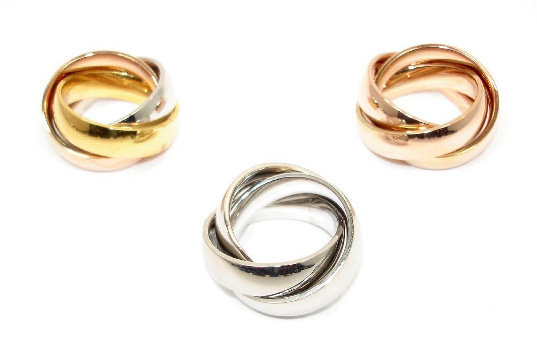 Edelstahlring Damen Tricolor 6 00mm Rose Silber Gold Farben Modern