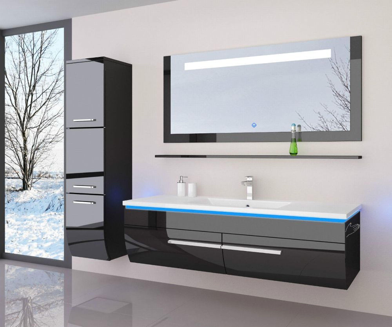 120 Cm Badmobel Set Schwarz Hochglanz Led Badezimmermobel Komplett