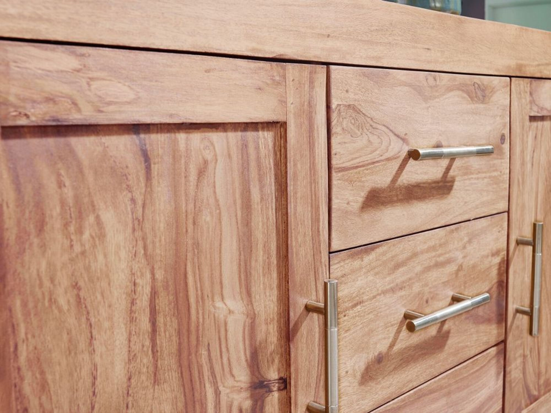 Wohnling Sideboard Massivholz Akazie Kommode 118cm Highboard