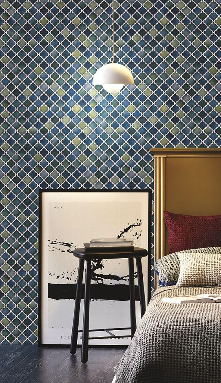 Vliestapete Keramik Mosaik Fliesen Florentiner Optik Grau Weiss - Florentiner fliesen