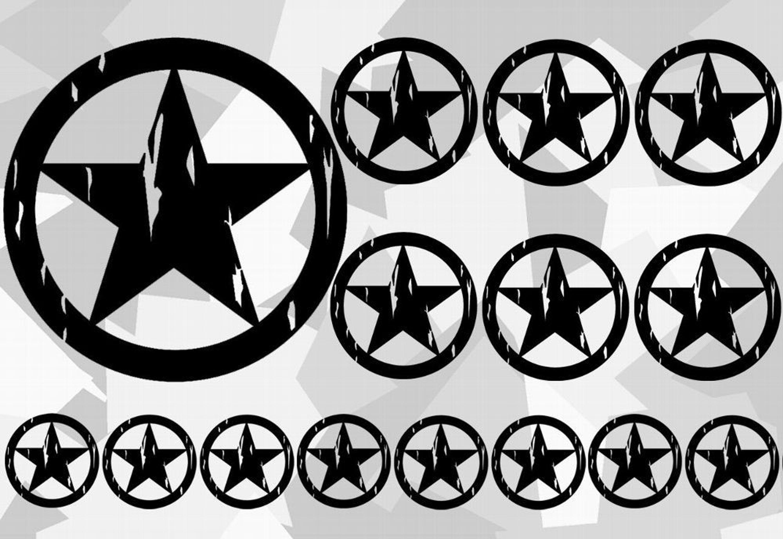 18x Us Army Stern Retro Sticker Auto Car Aufkleber Ratte Armee Star