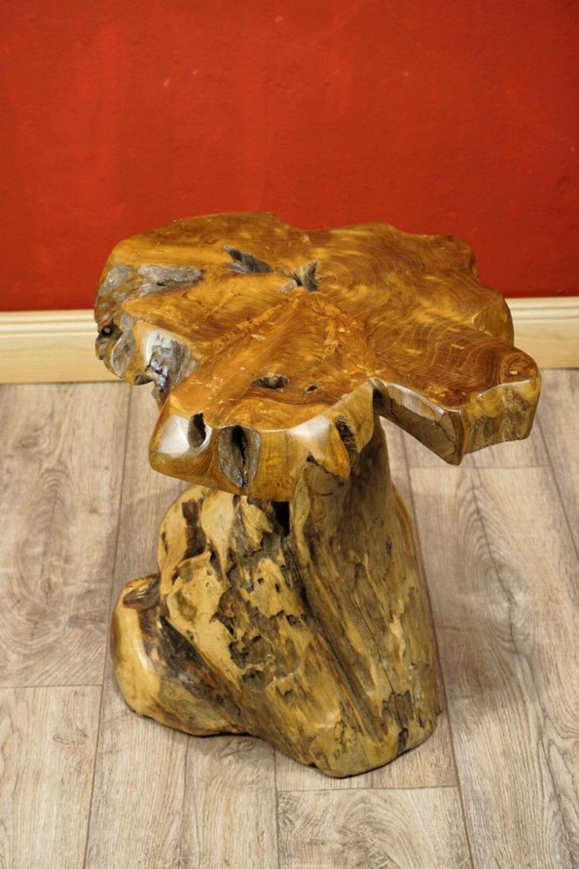 Wurzelholz Tisch Holz Beistelltisch Teak Baumscheibe Teakholz