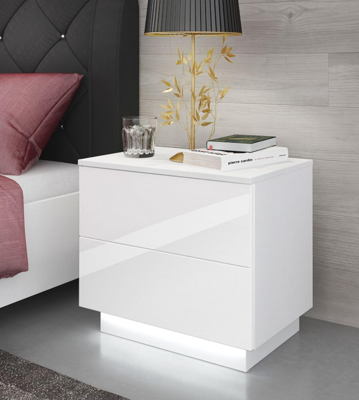Fesselnd Nachttisch LED Nachtkommode Nachtschrank Nachtkonsole Hochglanz Weiß Kaufen  Bei Hood.de