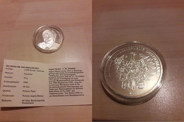 Medaille Angela Merkel Silber Serie 60 Jahre Bundesrepublik Deutschland