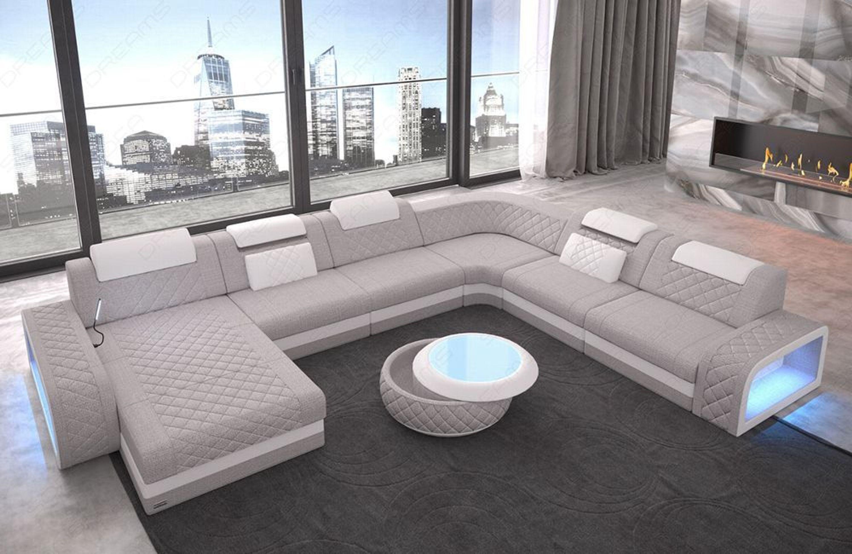 Stoff Sofa Design Couch Berlin Xxl Wohnlandschaft Mit Ottomane Led