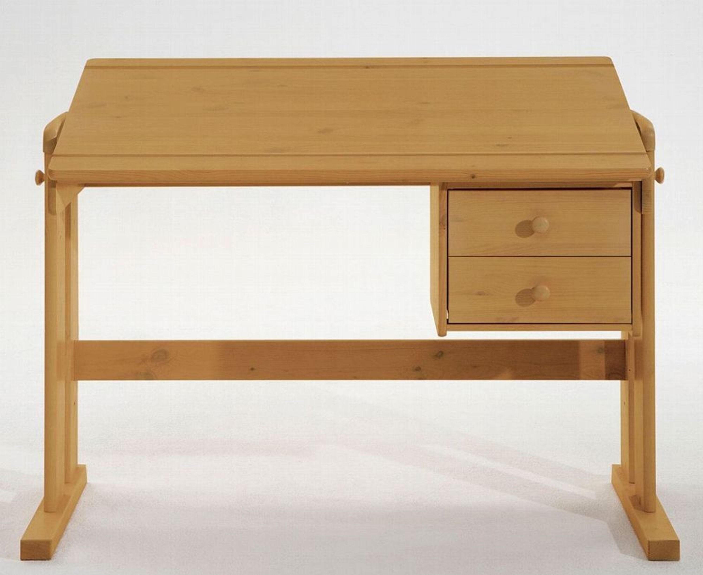 Massivholz Schreibtisch Höhenverstellbar Kiefer Gelaugt Geölt Neu
