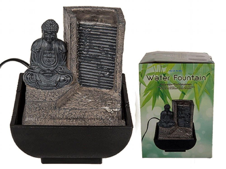 Polyresin Tischbrunnen Buddha Mit Wasserfall 17x14cm Tisch Deko